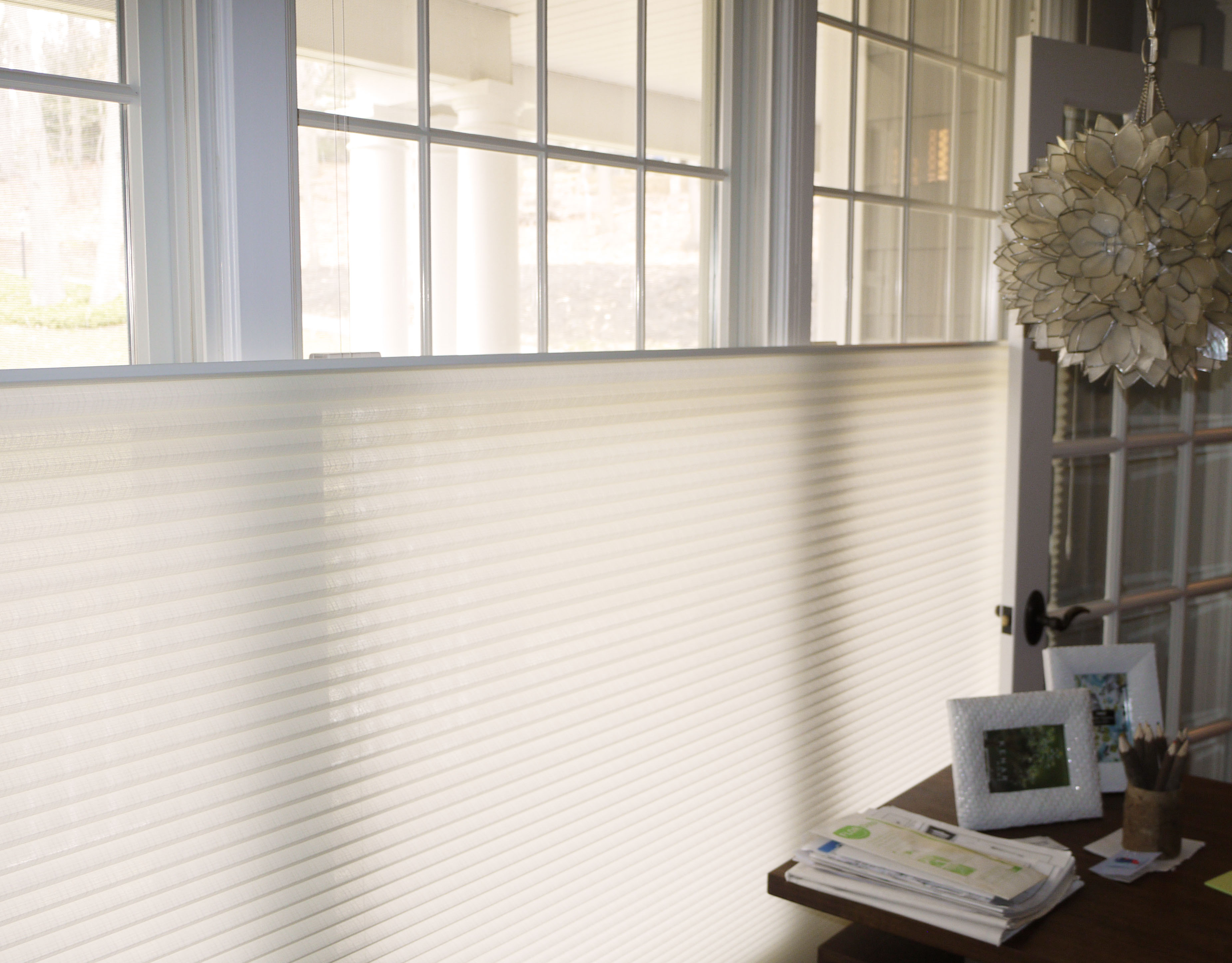 top roman up bottom tiered vignette blinds douglas down hunter pin shades